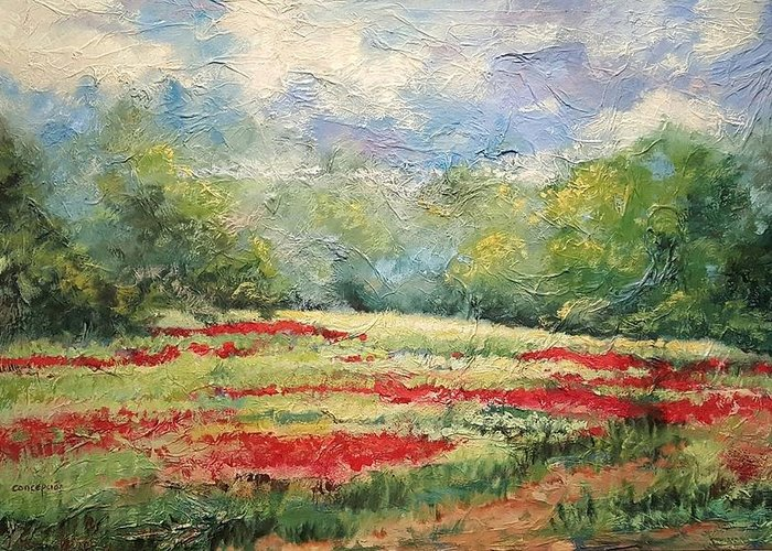 Clover Pastures Greeting Card featuring the painting Into the Clover by Ginger Concepcion