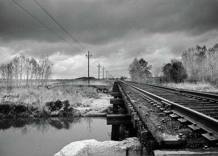 Railroad Tracks Greeting Card featuring the photograph Into The Distance by Matthew Angelo