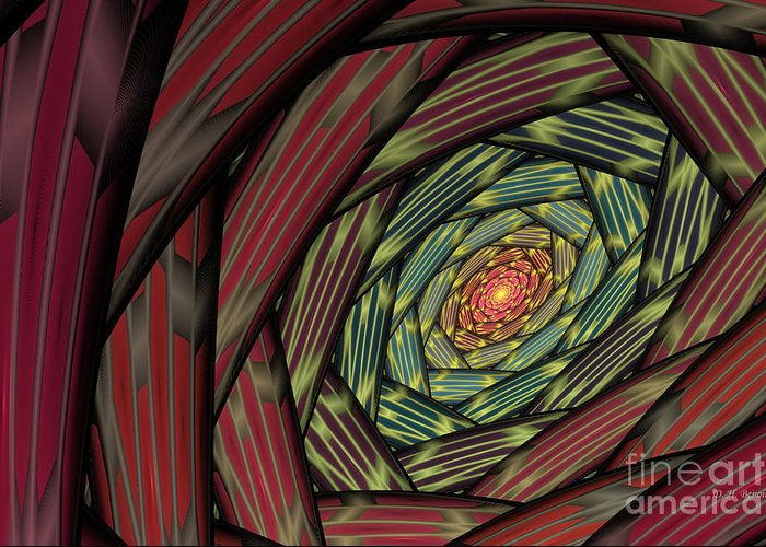 Fractal Greeting Card featuring the digital art Into The Fantasy Tunnel by Deborah Benoit