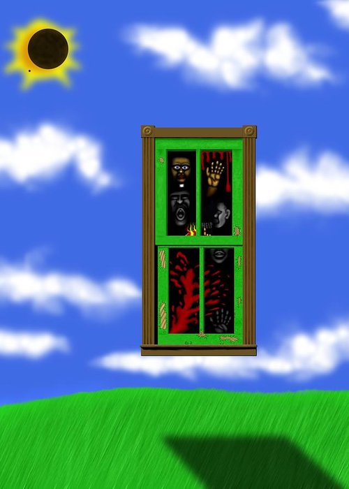 Surrealism Greeting Card featuring the digital art Into The Green Window by Robert Morin