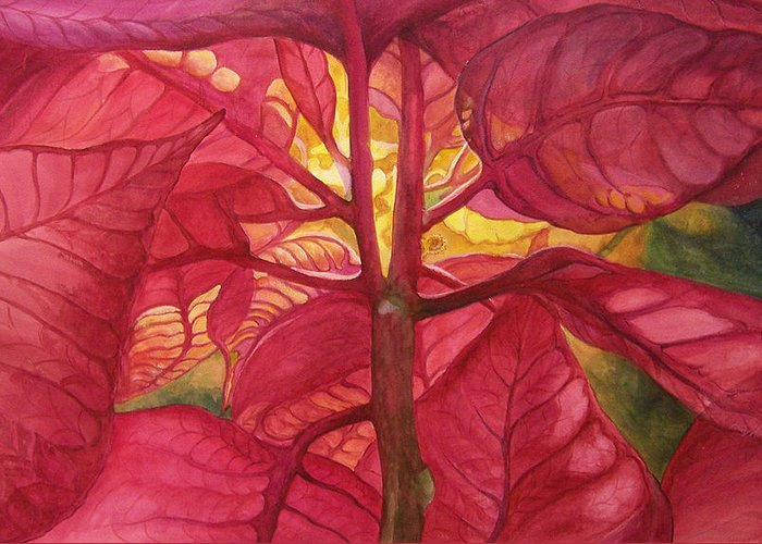 Floral;watercolor Floral;poinsettia;conceptual;poinsettias;christmas;holiday;flower;flowers;plant; Greeting Card featuring the painting Into The Light by Lois Mountz