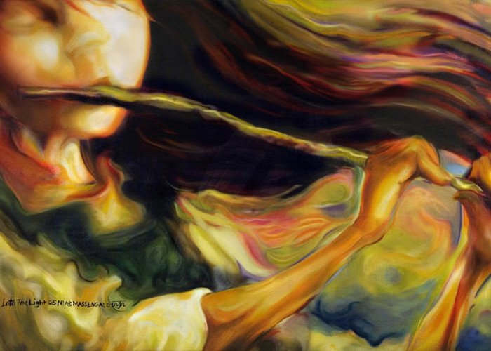Girl Greeting Card featuring the painting Into The Light by Mike Massengale