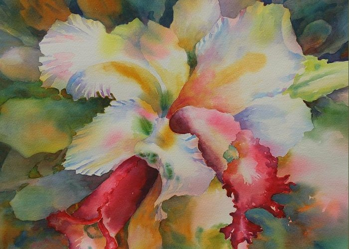 Orchid Greeting Card featuring the painting Into The Light by Tara Moorman