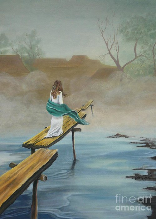 Water Greeting Card featuring the painting Into The Mist by Kris Crollard