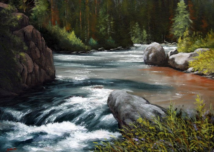 Landscape Greeting Card featuring the painting Into The Narrows 070820-1612 by Kenneth Shanika