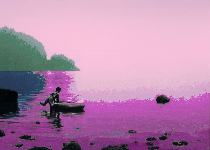 Landscape Greeting Card featuring the photograph Into The Stillness - Pink by Lyle Crump