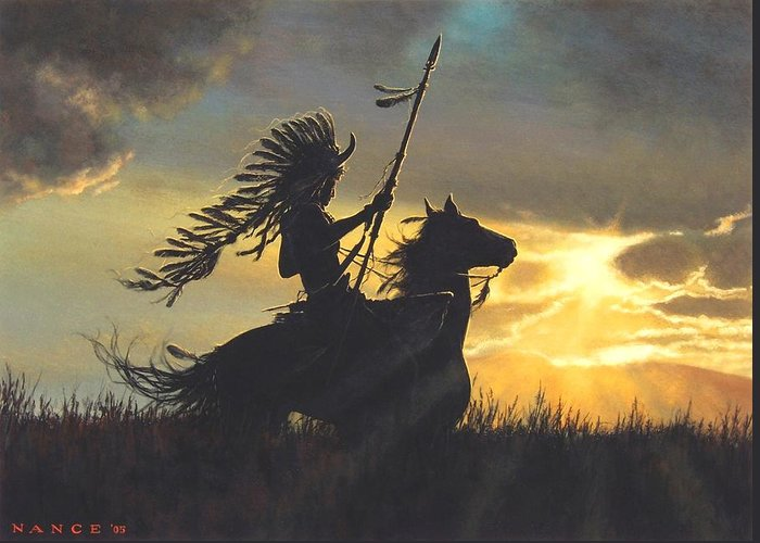 Native American Greeting Card featuring the painting Into The Sunset by Dan Nance
