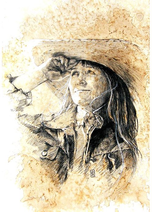 Cowgirl Greeting Card featuring the drawing Into The Sunset by Debra Jones
