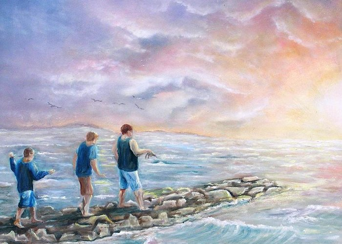 Seascape Greeting Card featuring the painting Into The Sunset by Renee Dumont Museum Quality Oil Paintings Dumont