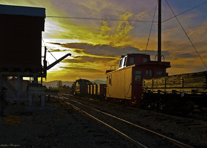 Railroad Greeting Card featuring the digital art Into The Sunset by Stephen Thompson