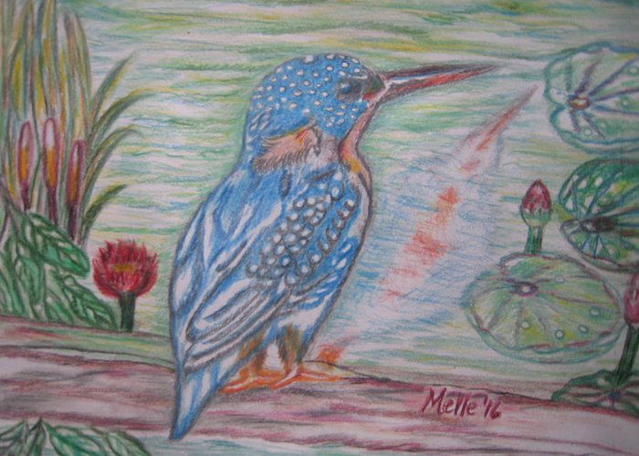 Bird Greeting Card featuring the drawing Into The Tropics The Philippine Kingfisher by Carmela Maglasang