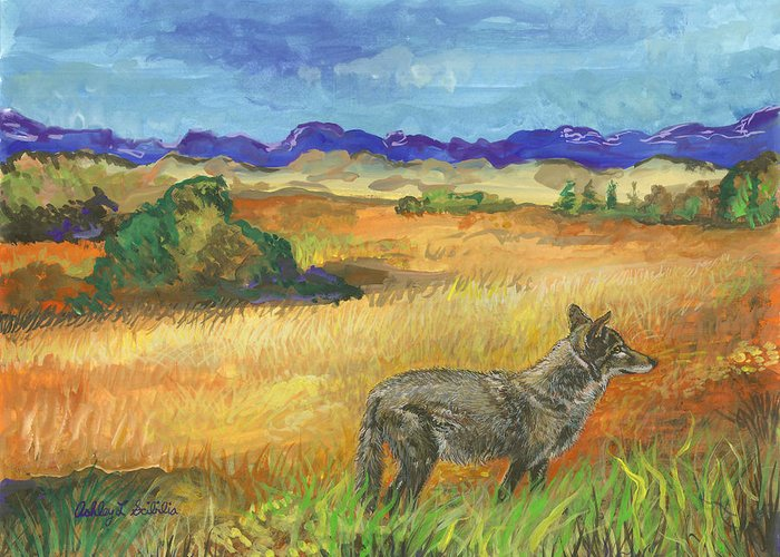 Coyote Greeting Card featuring the painting Into The Wild by Ashley Scibilia