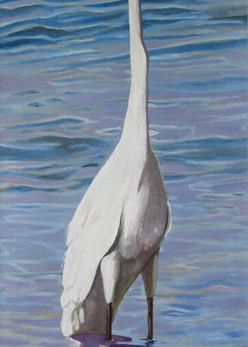 Florida Birds Greeting Card featuring the painting Intracoastal Sentinel  Great Egret by D T LaVercombe