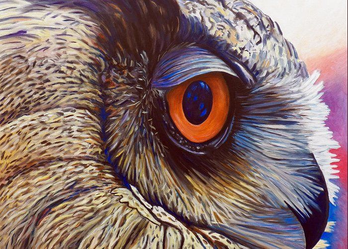 Owl Greeting Card featuring the painting Introspection by Brian Commerford