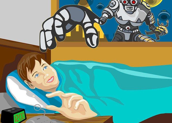 Robot Greeting Card featuring the digital art Invading Alien Robot by Aloysius Patrimonio