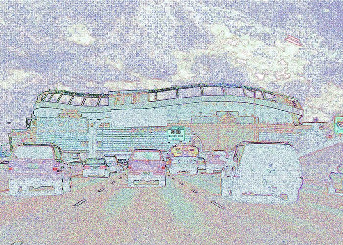 Abstract Greeting Card featuring the photograph Invesco Field by Lenore Senior