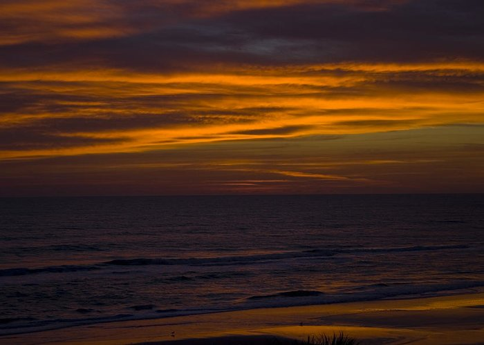 Beach Ocean Water Wave Waves Sky Cloud Clouds Sunrise Gold Golden Reflection Sand Greeting Card featuring the photograph Invisible Presence by Andrei Shliakhau