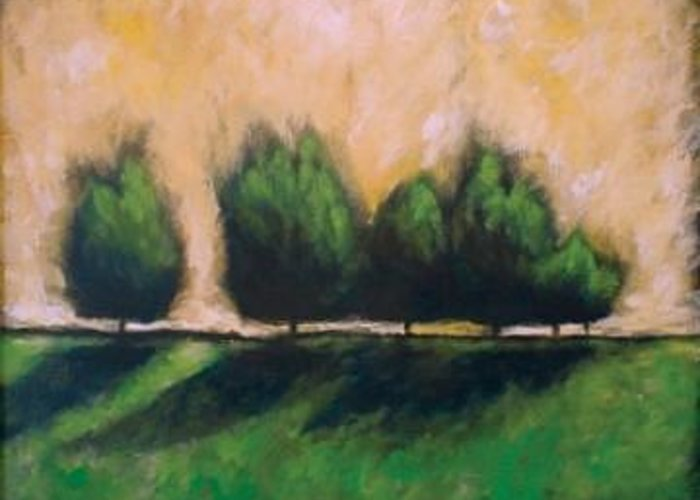 Green Greeting Card featuring the painting Involve by Ellen Lewis
