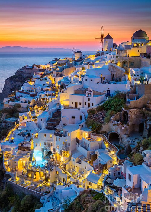 Aegean Sea Greeting Card featuring the photograph Oia Sunset by Inge Johnsson