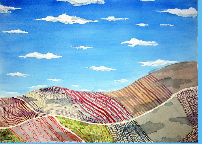 Iowa Greeting Card featuring the painting Iowa Fields Iowa Clouds by Jame Hayes