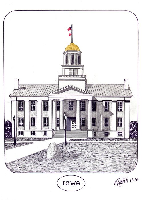 Iowa Old Capital Building Pen And Ink Drawing Greeting Card featuring the drawing Iowa by Frederic Kohli