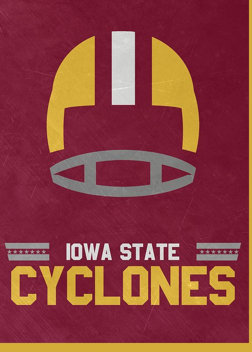 Cyclones Greeting Card featuring the mixed media Iowa State Cyclones Vintage Football Art by Joe Hamilton