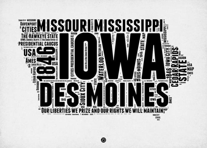 Iowa Greeting Card featuring the digital art Iowa Word Cloud 2 by Naxart Studio