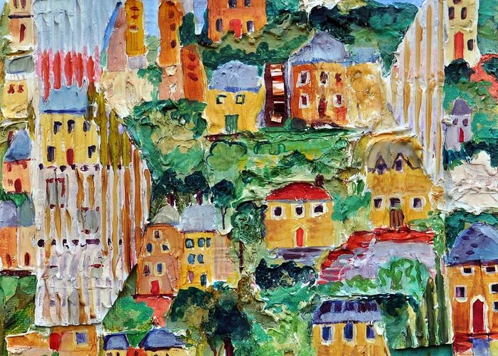 English Village Art Greeting Card featuring the painting Ipswich by Ginger Concepcion