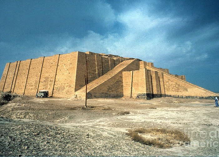 2100 B.c. Greeting Card featuring the photograph Iraq: Ziggurat In Ur by Granger