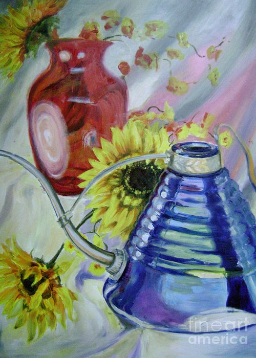 Sunflowers Greeting Card featuring the painting Iridescence by Lori McCray