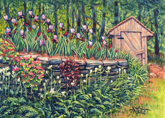 Iris Greeting Card featuring the painting Iris Accents by Amy White