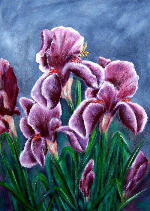 Floral Greeting Card featuring the painting Iris Awakens by Penny Everhart
