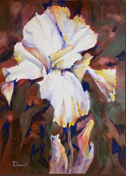 Iris Study Greeting Card featuring the painting Iris by Bob Duncan