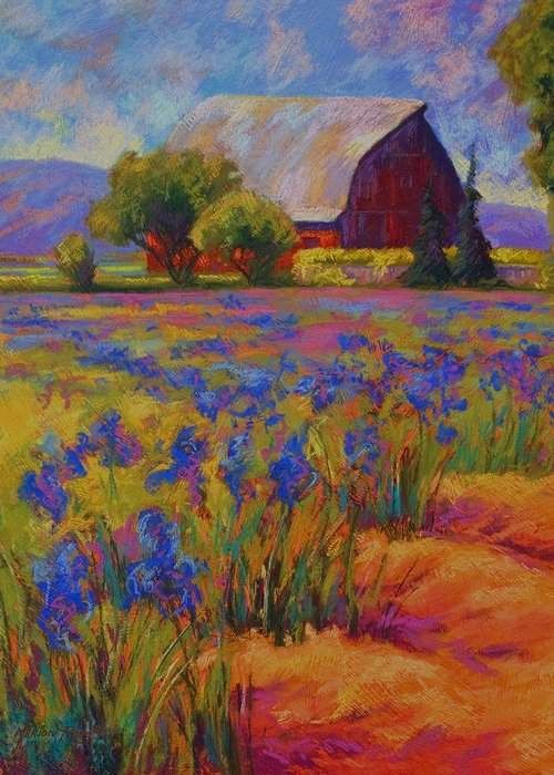 Pastel Greeting Card featuring the painting Iris Field by Marion Rose