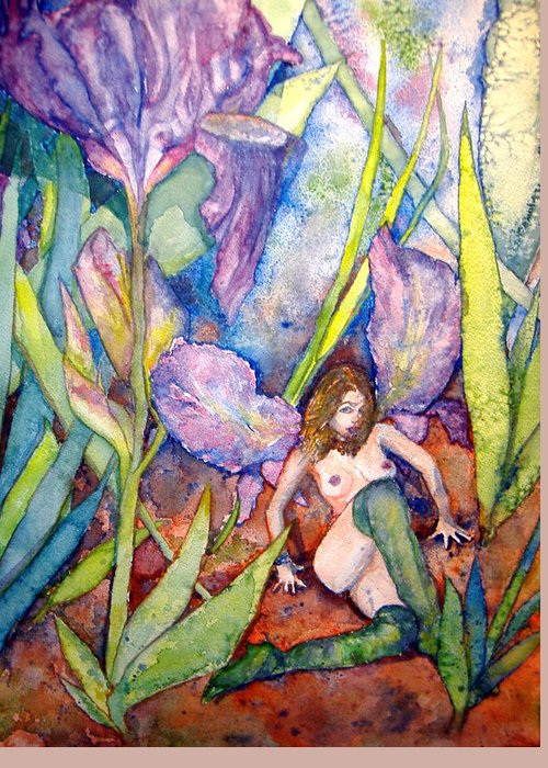 Faerie Greeting Card featuring the painting Iris Grantor Of Hope Wisdom And Inspiration - Watercolor by Donna Hanna