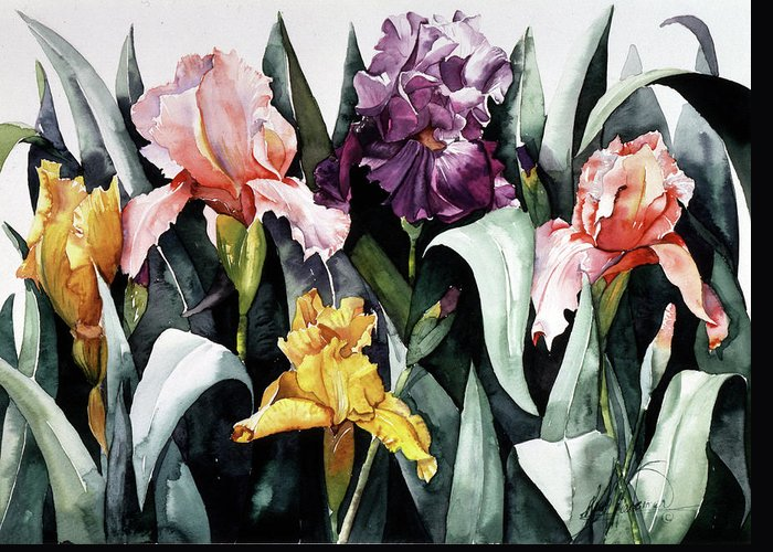 Iris Greeting Card featuring the painting Iris Integration by Leah Wiedemer
