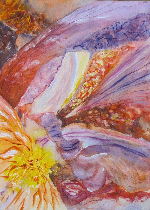 Iris Greeting Card featuring the painting Iris Intricacies by Corynne Hilbert
