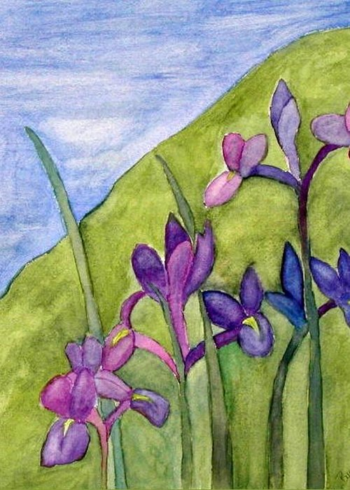 Flowers Greeting Card featuring the painting Iris Meadow by Margie Byrne