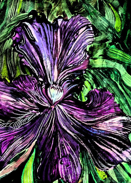 Iris Greeting Card featuring the painting Iris by Mindy Newman