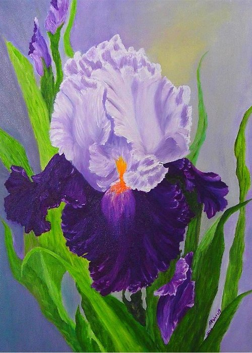 Floral Painting Greeting Card featuring the painting Iris by Peggy Holcroft