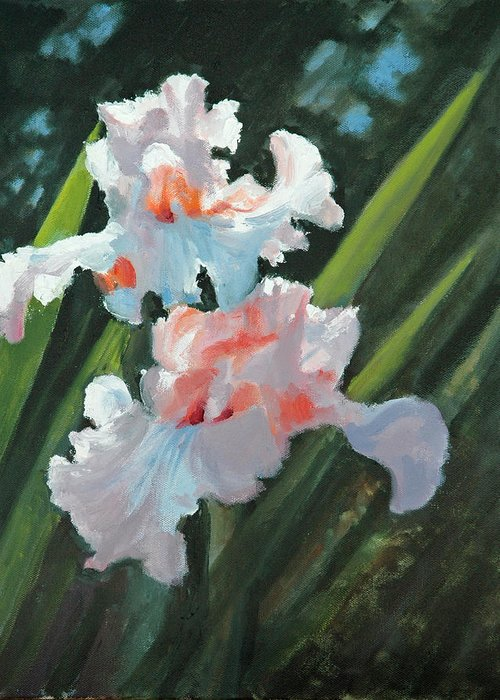 Irises Greeting Card featuring the painting Iris Pour Une Belle Femme by Glenn Secrest