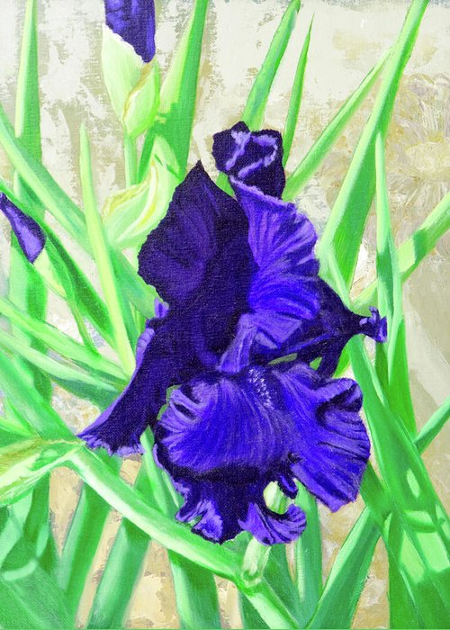 Iris Greeting Card featuring the painting Iris Royalty by Vicki VanDeBerghe