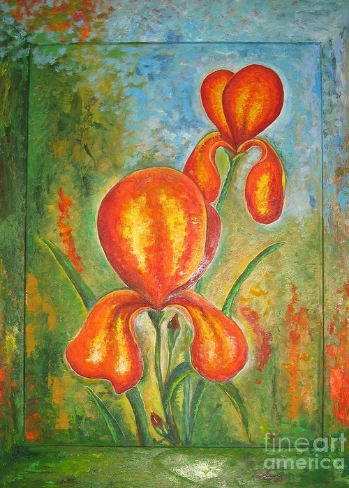 Iris Greeting Card featuring the painting Iris by Stella Velka