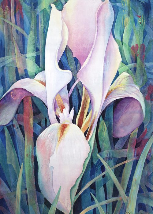 Fine Art America Flower Paintings Greeting Card featuring the painting Iris by Susanne Clark