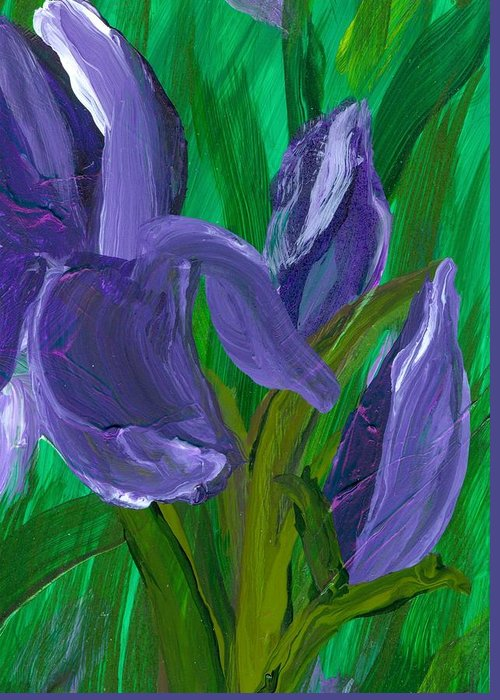 Iris Greeting Card featuring the painting Iris Up Close And Personal by Wanda Pepin