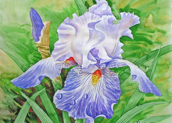 Flowers Greeting Card featuring the painting Iris.drops Of Dew .2007 by Natalia Piacheva