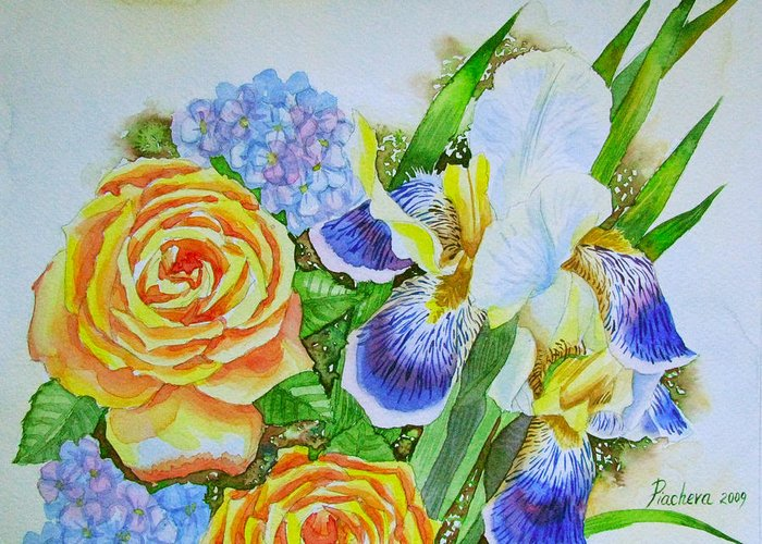 Roses Greeting Card featuring the painting Irises And Rores. by Natalia Piacheva