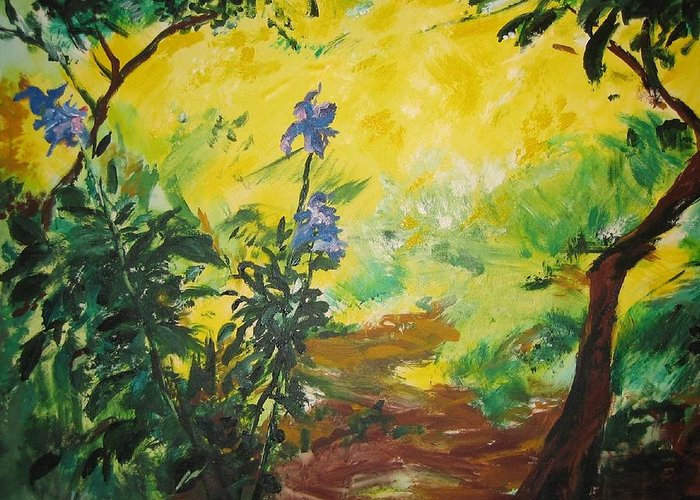 Sunlight Greeting Card featuring the painting Irises And Sunlight by Lizzy Forrester