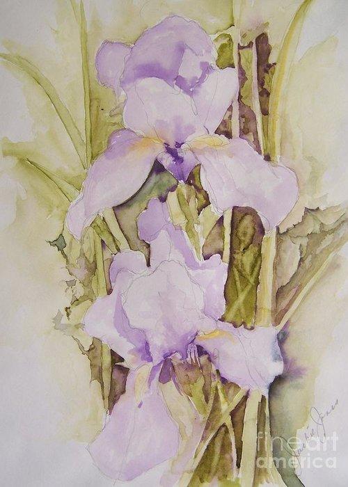 Irises Greeting Card featuring the painting Irises by Jackie Mueller-Jones