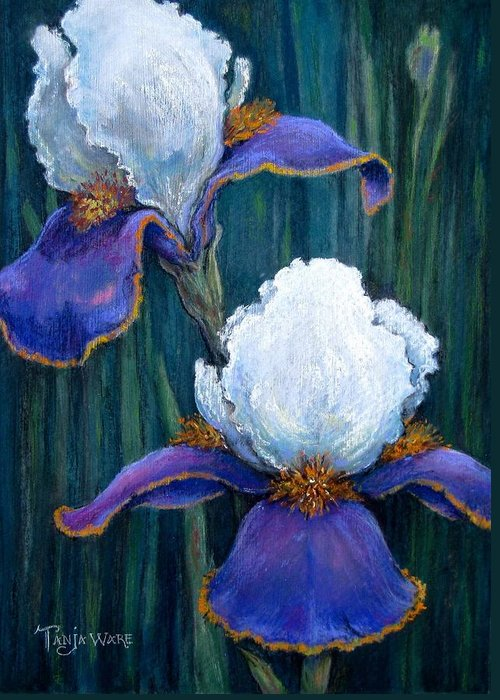 Floral Greeting Card featuring the painting Irises by Tanja Ware